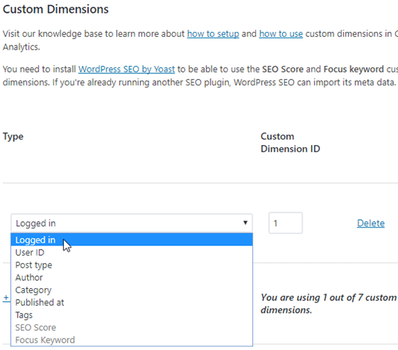 enable logged in custom dimensions