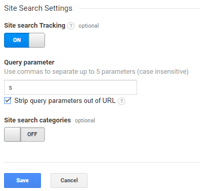 enable site search tracking in WordPress