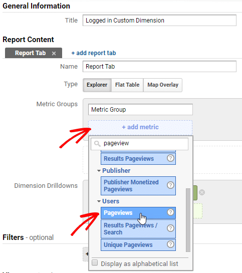 create a custom report for logged in custom dimensions
