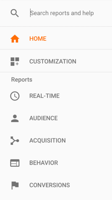 Reports In Google Analytics are in The Left Hand Column In Google Analytics