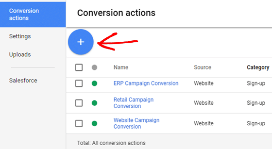 click + to add adwords conversion tracking