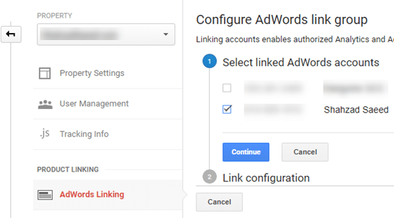 configure adwords link group