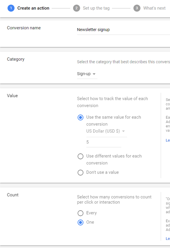 create an action in adwords