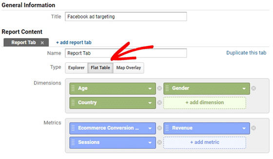 create custom report- facebook ad targeting