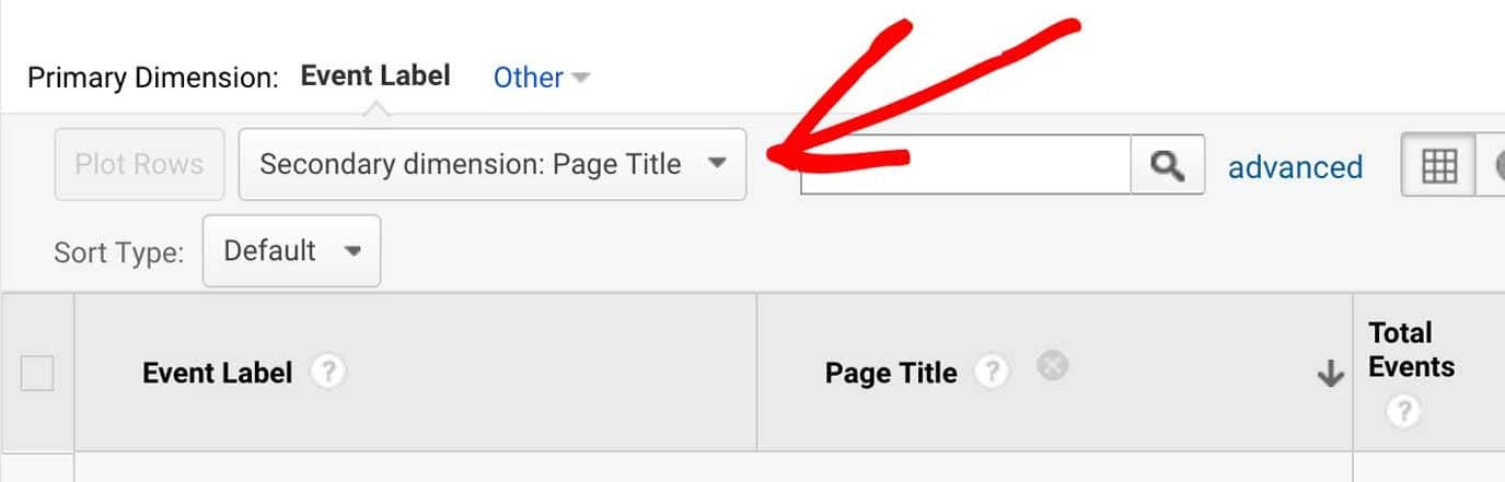 Google Analytics Reports - Set Secondary Dimension to Page Title