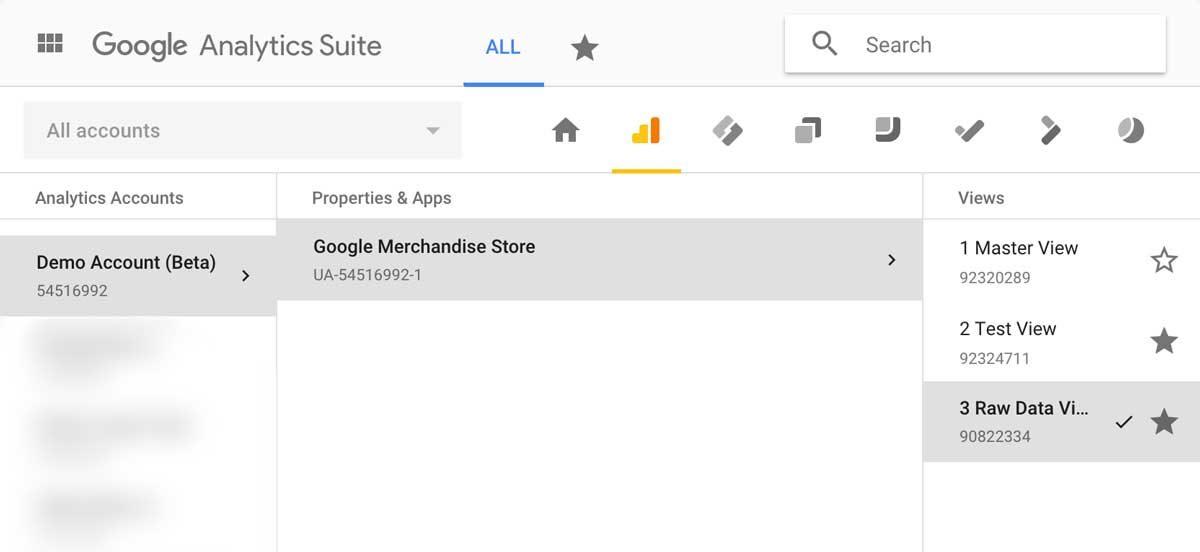 Google Analytics: Select View