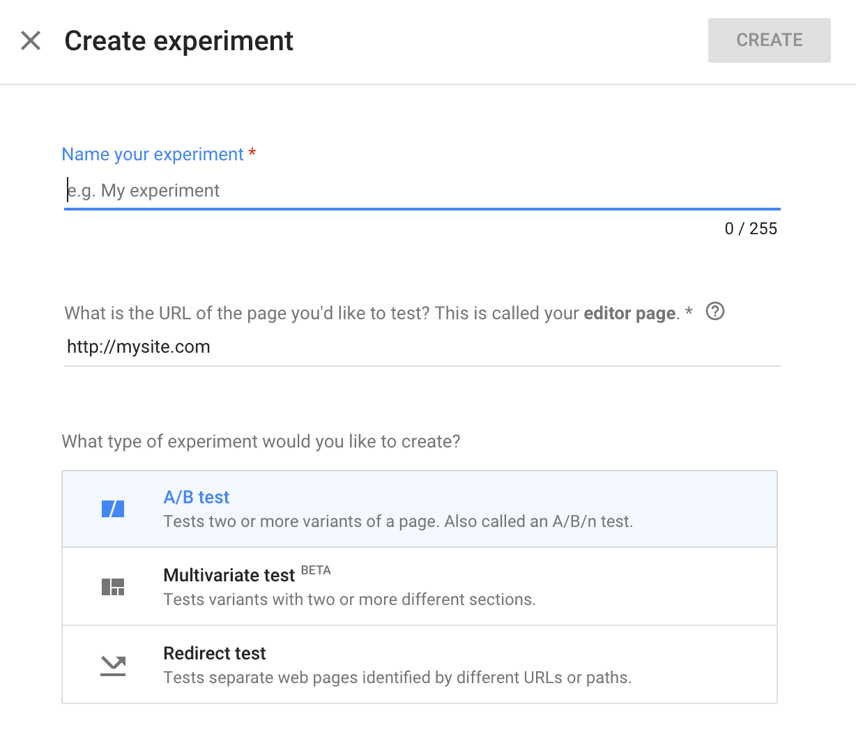 Google Optimize -> Create Experiment