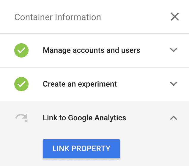 Google Optimize -> Link to Property