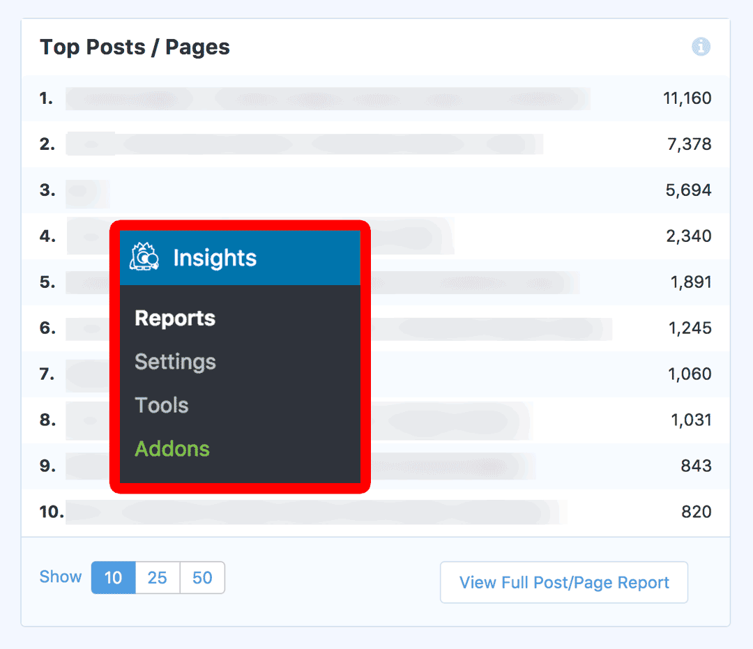 MonsterInsights Report: Top Posts and Pages with Menu