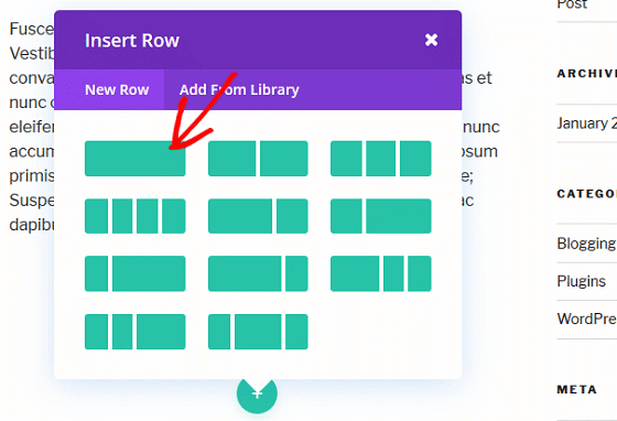 Bloom Conversion Tracking - Divi Builder Insert New Row.