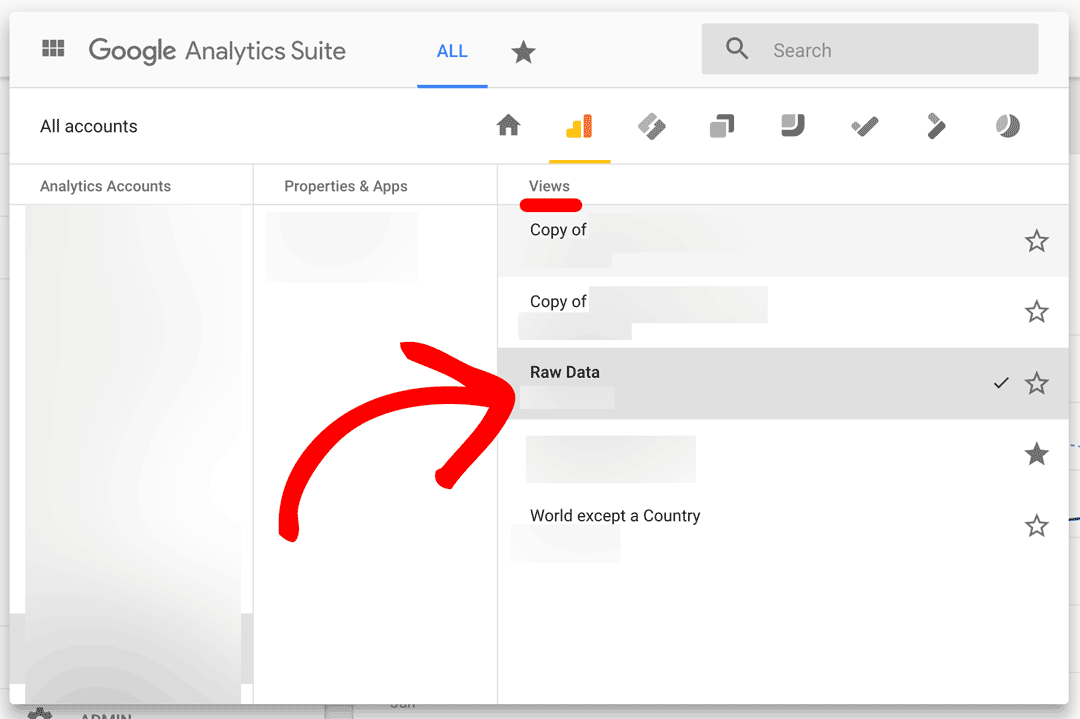Ensure the View is correct for the Google Analytics Property