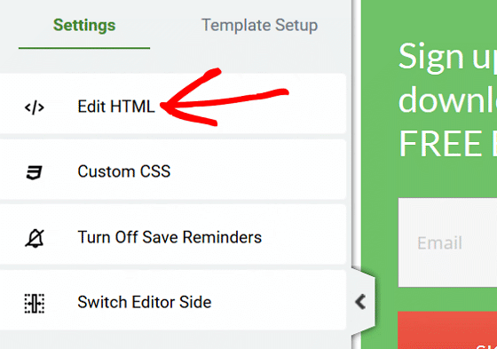 Track Thrive Leads - Settings, Edit HTML