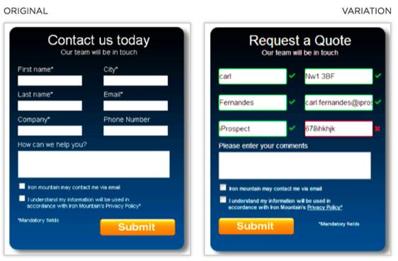 form validation ab testing idea