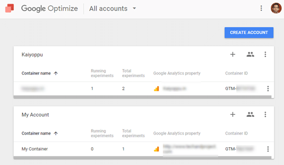 select google optimize property