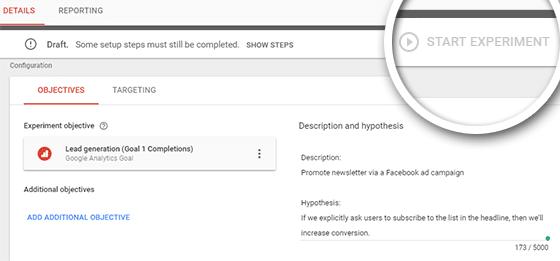 démarrer l'expérience d'optimisation de google