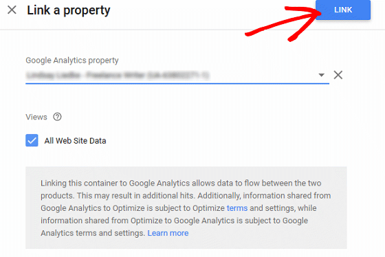 A/B Test Signup Forms - Google Optimize, Choose Property