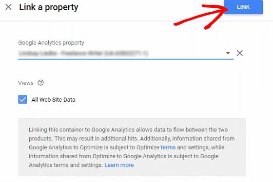 A/B Test Signup Forms - Google Optimize, Choose Property