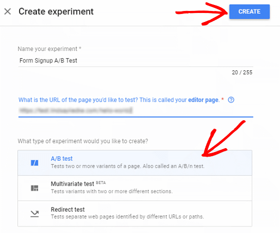 A/B Test Signup Forms - Google Optimize, Create Experiment Details