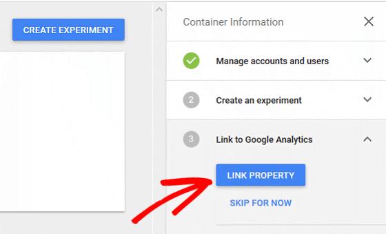 A/B Test Signup Forms - Google Optimize, Link Optimize to GA