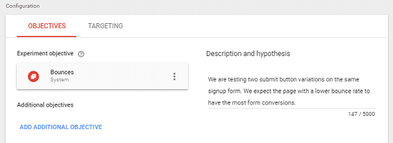 A/B Test Signup Forms - Google Optimize, Objectives