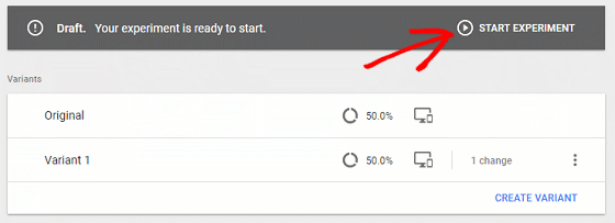 A/B Test Signup Forms - Google Optimize, Start Experiment