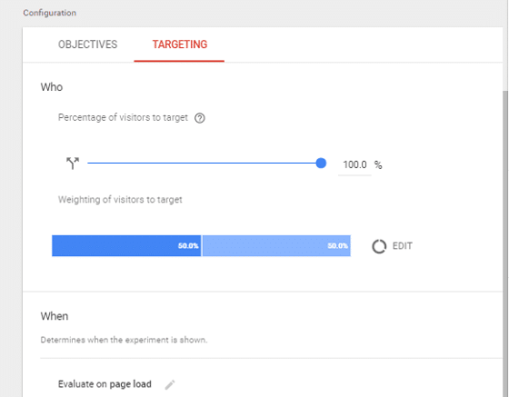 A/B Test Signup Forms - Google Optimize, Targeting