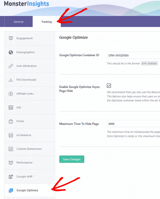 A/B Test Signup Forms - MonsterInsights, Tracking, Container ID