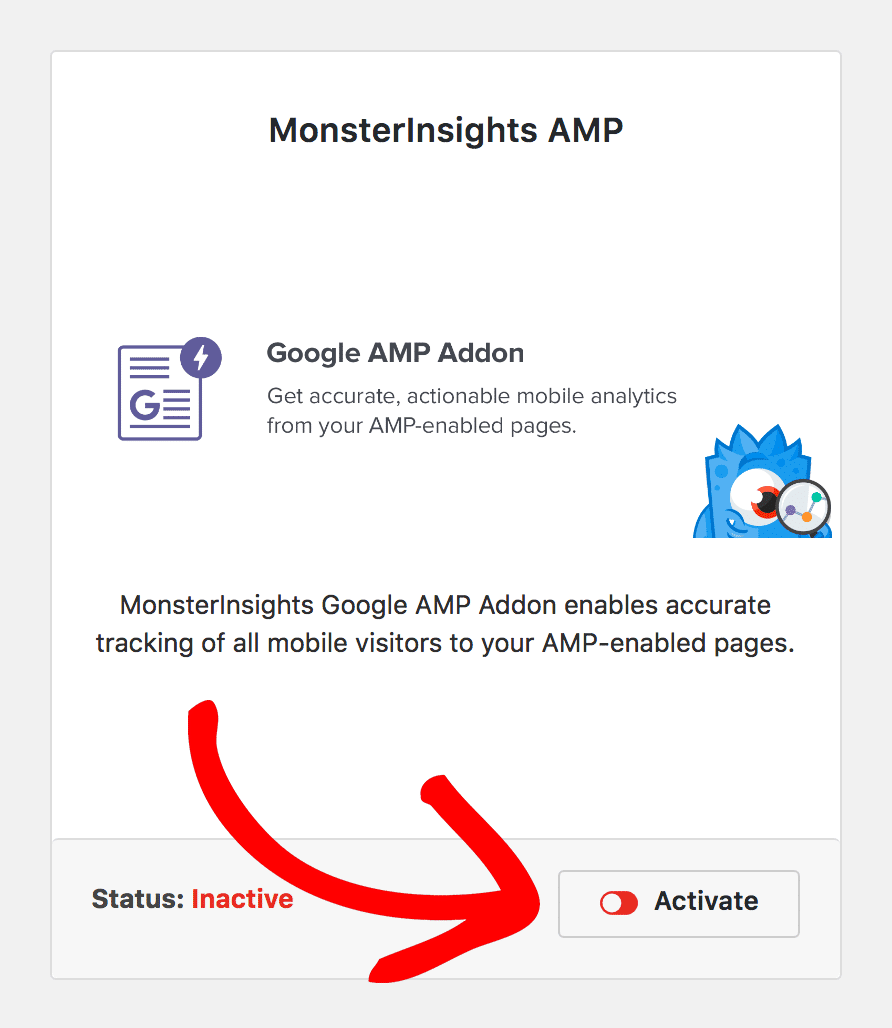 Activate a MonsterInsights Addon