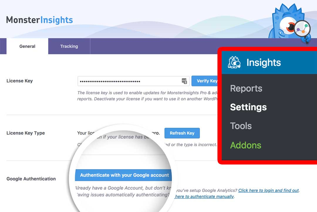 Authenticate with Google Analytics and MonsterInsights