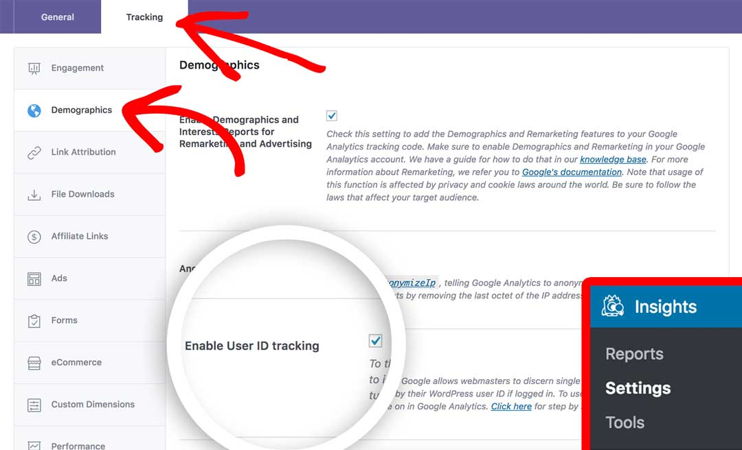 Enable user tracking in Google Analytics