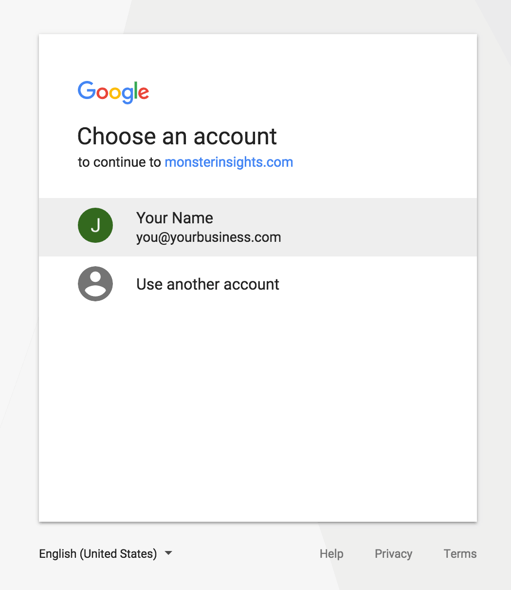 MonsterInsights Authentication - Select Your Google Account