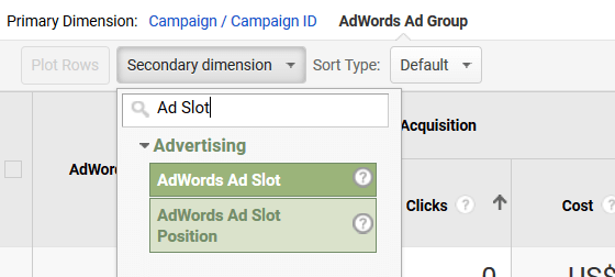 Using GA with AdWords - Ad Slot