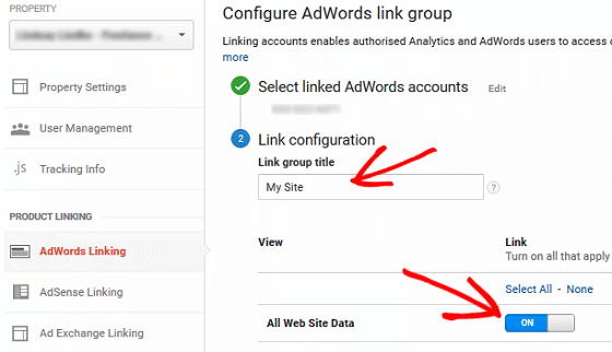 Using GA with AdWords - Property, AdWords Account, Toggle On