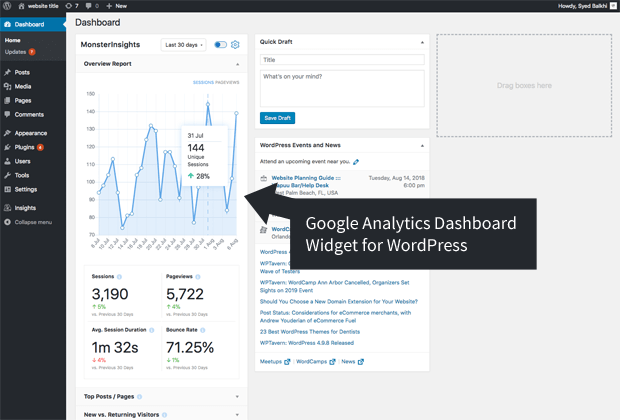 Widget Google Analytics Dashboard pour WordPress par MonsterInsights