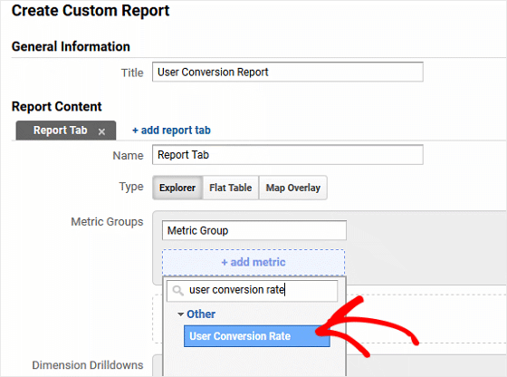 Custom Report Metric