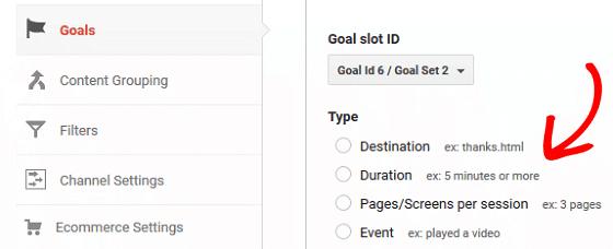 GA Goals - Goal Types