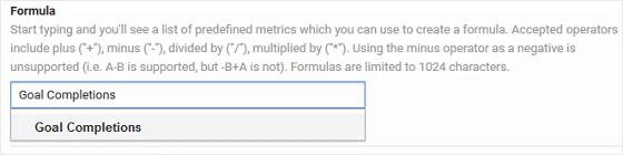 Goal Completions Formula