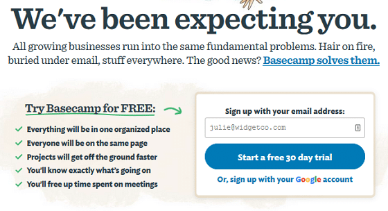 Lower Your Site's Bounce Rate - Clear CTA, Basecamp Example