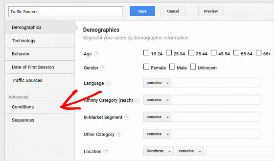 Use GA to Find Traffic Sources - Configure Segment, Conditions