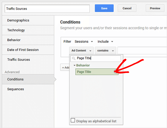 Use GA to Find Traffic Sources - Configure Segment, Page Title