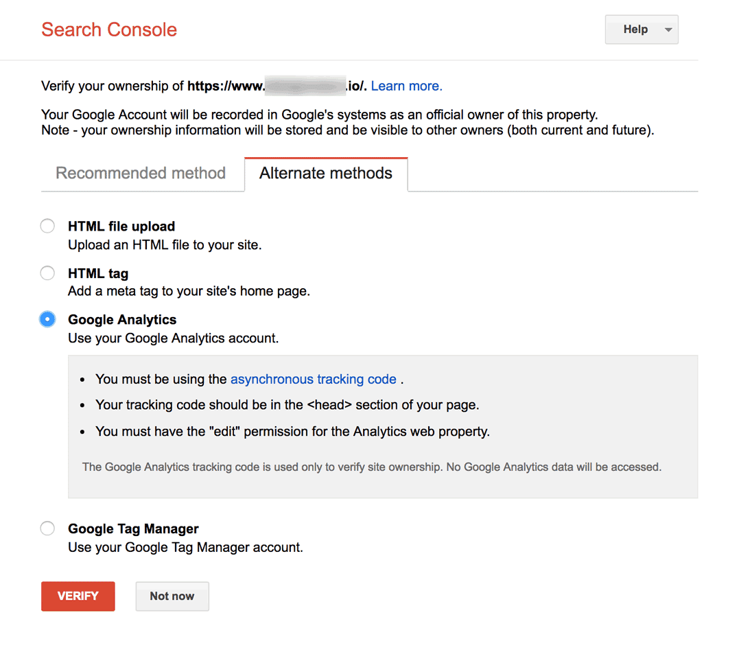 Verify Your Site With Google Analytics in Google Search Console