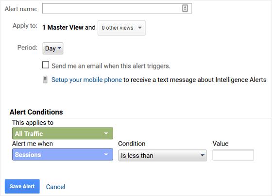 GA Custom Alert Configuration