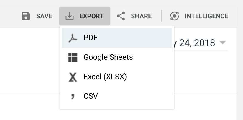 Export Google Analytics Data File Type Selection