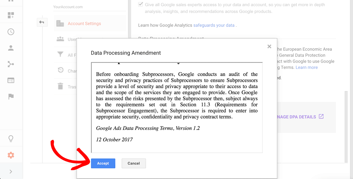 Opt Into Google Analytics EU GDPR Data Processing Amendment