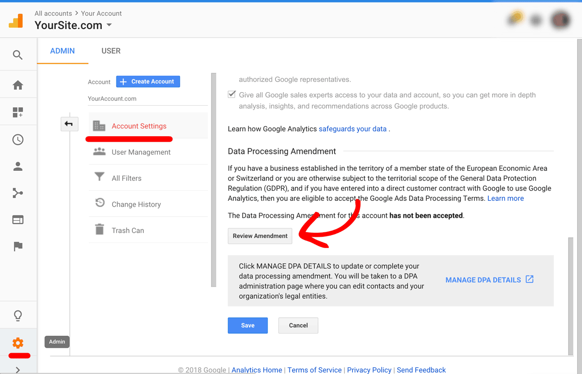 Opt into Google Analytics EU GDPR DPA