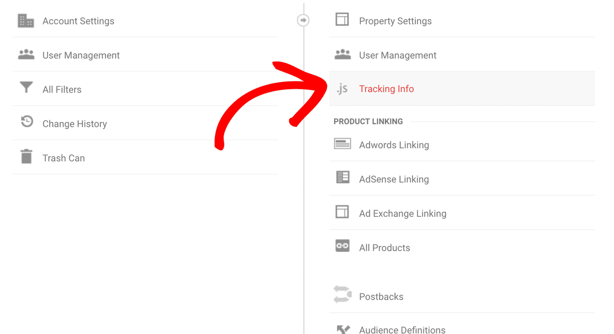 Select Tracking Info In Google Analytics