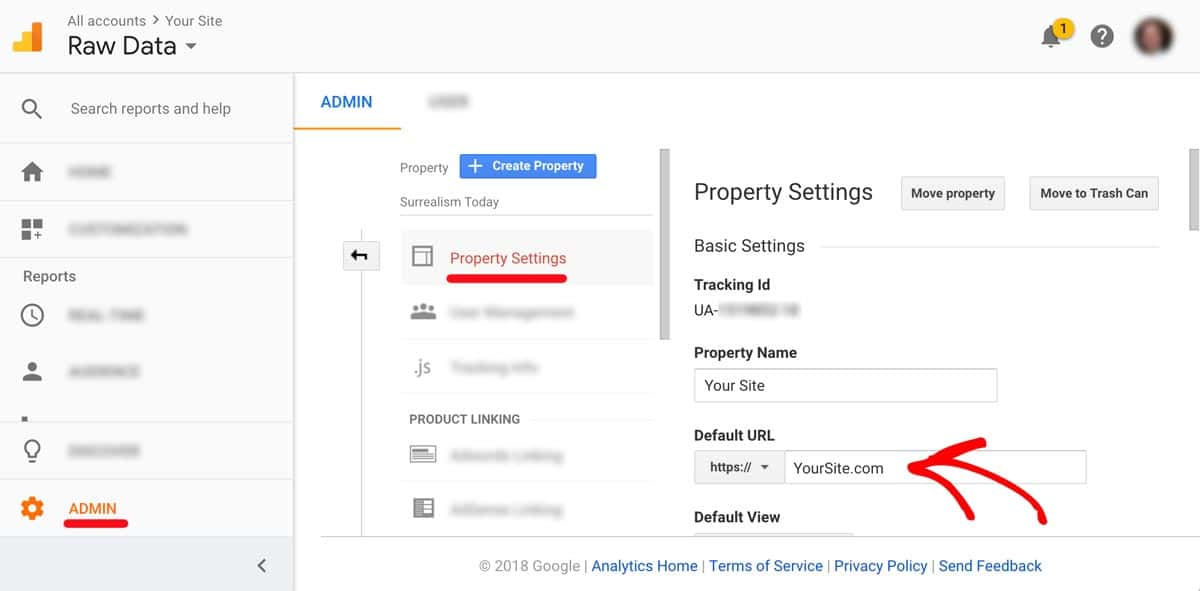 Google Analytics -> Admin Property -> Settings