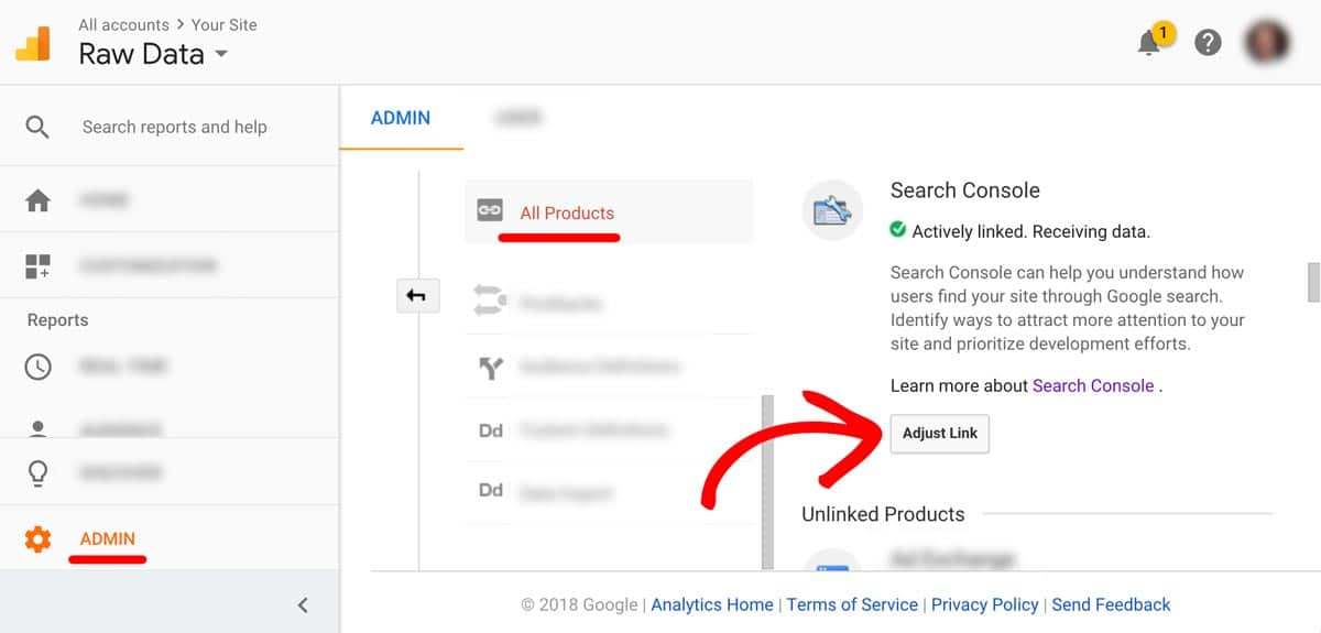 Google Analytics -> Property -> All Products -> Settings