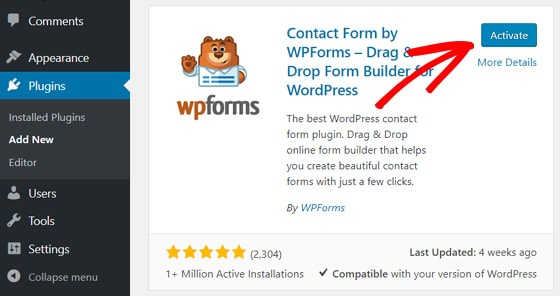 activate-wpforms-to-add-contact-form-wordpress