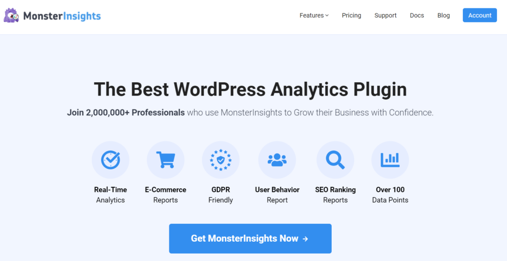 monsterinsights best analytics plugin for wordpress